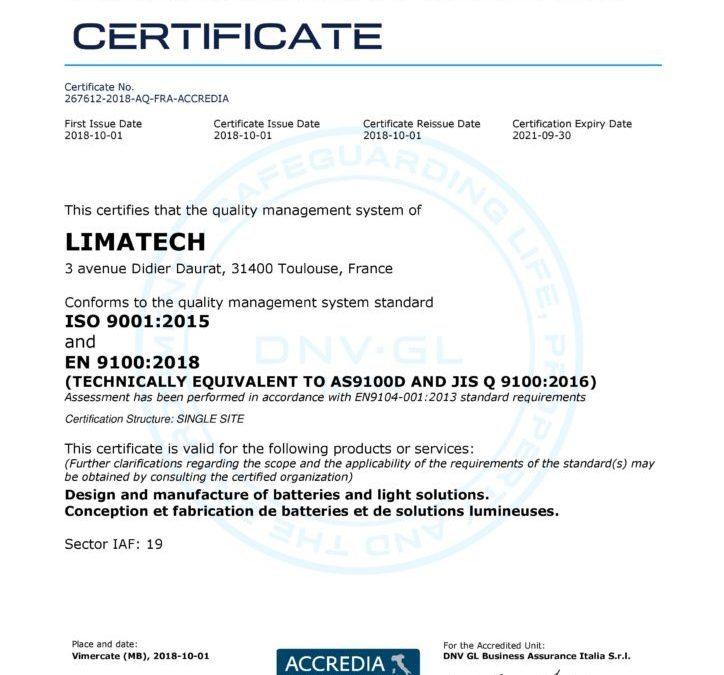 Limatech a renouvelé sa certification EN 9100.