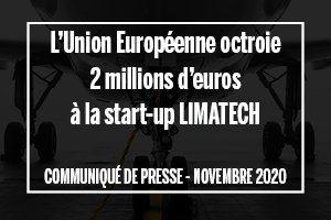 L'Union Européenne octroie 2 millions d'euros à la start-up LIMATECH